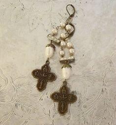 Religious Medal Earrings Assemblage Jewelry by BerthaLouiseDesigns Handmade, one of a kind earrings, real fresh water pearls, vintage rhinestone connectors... lovely crosses...really beautiful earrings!!!!