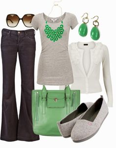 Spring Outfits | Green & Grey  MBYM grey top, Vero Moda cardigan, CITIZENS OF HUMANITY pants, shoes, VILA handbag, GUCCI sunglasses  by htotheb
