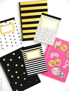 Easy DIY customized notebooks for back to school or home or office - emoji inspired agendas, gold foil notepads & stationery.