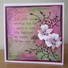 """By Brenda. Uses Dylusions bubblegum pink, cut grass, & fresh lime. Stamp is """"Waiting for the Storm"""" from Stamp Addicts. Uses corner flourish die from Memory Box and """"Peruvian Lily"""" punch & stamp set from Tonic."""