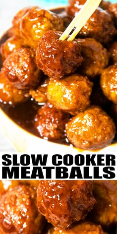 CROCKPOT GRAPE JELLY MEATBALLS RECIPE- Easy homemade party meatballs with 3 simple ingredients: grape jelly, bbq sauce and frozen meatballs. The best cocktail meatballs for parties! From SlowCookerFoodie.com #meatballs #slowcooker #crockpot #partyfood Party Meatballs, Cocktail Meatballs, Asian Meatballs, Slow Cooker Beef, Slow Cooker Recipes, Crockpot Recipes, Cooking Recipes, Vegan Recipes, Grape Jelly Meatballs