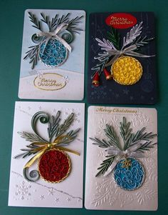 Quilled Christmas ornament cards