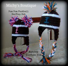 Crochet Pom Pom or Mohawk Football Earflap Hat Newborn-Adult Sizes Available