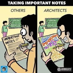 Webcomic collective Leewardists create hilarious drawings that illustrate how an architect experiences everyday life. The drawings brilliantly capture the trained analytical mind of an architect, as well as the daily frustrations of the job. Architecture Memes, Library Architecture, Museum Architecture, Architecture Panel, Architecture Wallpaper, Futuristic Architecture, Baroque Architecture, Interior Architecture, Watercolor Architecture