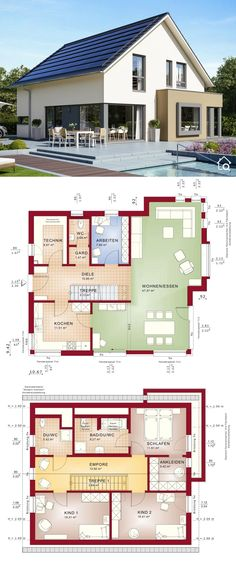 One Family House Floor Plans with 2 Story & 4 Bedroom Modern Contemporary European Style Architecture Design FANTASTIC 162 - Dream Home Ideas with Open Concept Layout by Bien Zenker - Arquitectura moderna casas planos - HausbauDirekt. Open Floor House Plans, Modern Floor Plans, Basement House Plans, Bedroom House Plans, Modern House Plans, Small House Plans, Prefabricated Houses, Prefab Homes, Modern Architecture House