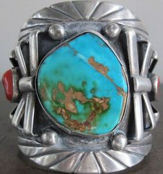 pawn sterling silver | Vtg Old Dead Pawn Navajo Sterling Silver Turquoise Bracelet Cuff Heavy ...