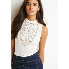 Forever 21 Mock Neck Crocheted Top ($16) ❤ liked on Polyvore