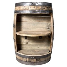 Description Display your decor or whiskey collection while hiding away your secrets in this unique two shelf half barrel cabinet. Select from dark natural oak, sealed dark natural oak, or sealed dark Wine Barrel Diy, Barrel Bar, Half Whiskey Barrels, Bourbon Barrel, Wine Barrels, Whiskey Gifts, Whiskey Glasses, Whiskey Cocktails, Whiskey Bottle