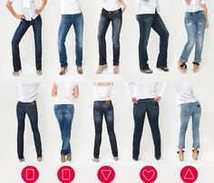 Jeans-fit and body types recommended for each. Super place to start when considering jeans for your wardrobe.