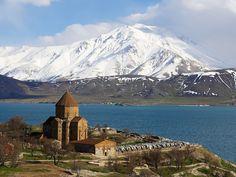 Armenian Church and Lake Van, East Anatolia Province, Turkey