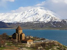 Armenian Church and Lake Van, East Anatolia Province, Turkey