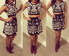 Two peice, black and cream tribal dress