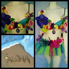 Aloha is a bra-top and tulle tutu combination. Tutu is a standard 8 inch length, please let me know if youd like a different length. Bra tops are padded and medium push up.   These outfits are about YOU! Please let me know what customization you would like so the outfit you order can truly be your Xpression!   *Please allow 2 weeks processing time for this custom order*