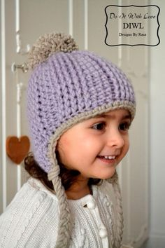 Häkelanleitung für eine Kindermütze mit Bommel, Winter / winterly crochet instruction: cute beanie with pompom, diy by Do It With Love via DaWanda.com