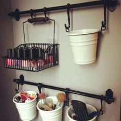 Hanging buckets as makeup storage ❤️