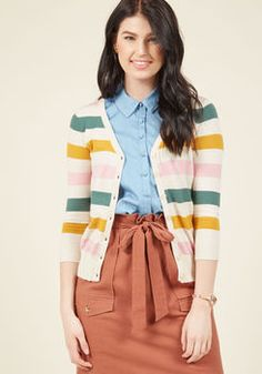 Charter School Cardigan in Subdued Stripes