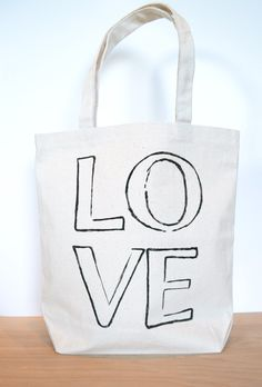 LOVE Tote Bag - Wedding Tote Bag - Bride Bag - Market Tote Bag - Books - Produce - Black and Canvas Carry All by RevellHouse on Etsy