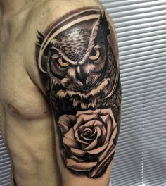 Badass Owl Flower Half Sleeve Shoulder Tattoo Designs - Best Half Sleeve Tattoos For Men: Cool Half Sleeve Tattoo Ideas, Badass Sleeve Tattoo Designs For Guys Half Sleeve Tattoos For Guys, Half Sleeve Tattoos Designs, Best Sleeve Tattoos, Tattoo Designs Men, Body Art Tattoos, Tribal Tattoos, Upper Arm Tattoos For Guys, Thigh Tattoos, Owl Tattoo Design