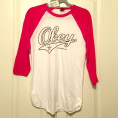 OBEY baseball tee Red & white Obey propaganda baseball tee. New with tags Obey Tops