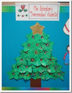"Christmas tree - display or for a class card - ""You have been a tree-mendous help to us."""