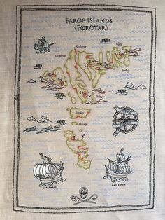 Embroidered map from Faroe Island pilot whale defence campaign.