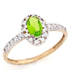 10k Solid Real Gold Oval Simulated Peridot August Birthstone CZ Ring Jewelry -- Read more reviews of the product by visiting the link on the image.