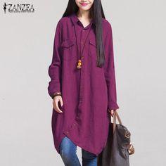 Long Sleeve Irregular Hem Cotton Shirts Plus Size S-5XL