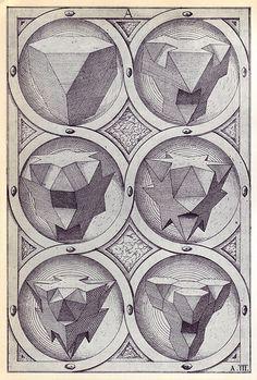 Ignis (a) - Perspectiva Corporum Regularium - Wenzel Jamnitzer 1568 - Tetrahedron Solid Geometry, Geometry Art, Sacred Geometry, Geometric Drawing, Geometric Shapes, Mandala, Platonic Solid, Pencil Drawings, Illustration