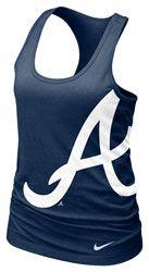 Really want one of these for baseball season! Atlanta Braves MLB Nike Women's Navy Cotton Racerback Tank