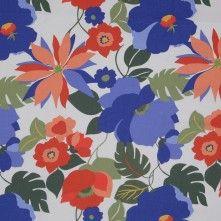 Blue/Orange Floral Stretch Cotton Twill