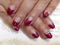 【No.0037】elegant design French with sparkly wine red colour, good for a formal party too!! ラメの入ったワインレッドとパールでパーティーにも行けちゃうようなエレガントフレンチ♪ #vividnailsalonsydney#calgel#sydney#nail#nails#nailart#art#nalisalon#gelnail#japanesenailart#ネイル#ネイルアート#ジェルネイル#カルジェル#美甲#指甲