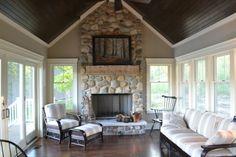 lake cottage house- love the dark ceiling Family Room Addition, Sunroom Addition, Four Seasons Room, Three Season Room, Wood Furniture Living Room, Sunroom Decorating, Room Additions, Cottage Homes, Lake Cottage