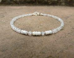 White Topaz and Silverite Gemstone Bracelet. White Bracelet. Small Beaded Bracelet. Boho. Gemstone. Minimalistic. Healing Crystal Bracelet.