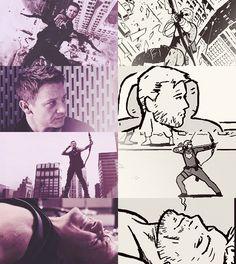 Clint Barton (MCU + David Aja's Hawkguy) part 2 by http://natasharomanof.co.vu/  (That last panel...)