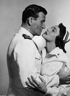 """Operation Pacific,"" Warner Bros. 1950. John Wayne and Patricia Neal."