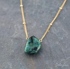 Raw Emerald Necklace Gold Satellite Chain Rough by delezhen