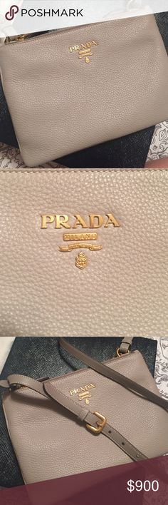 Prada Shoulder Bag Brand new and never worn Prada shoulder bag in beautiful Pale Grey color. Prada Bags Crossbody Bags