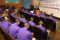 Recruiting Station Dallas Commanding Officer Maj. Karl Tinson answers questions from members of the Omega Psi Phi Fraternity during their annual Youth Leadership Conference July 6. Tinson, an Albany, Ga., native, also discussed Marine Corps leadership principles during the event.