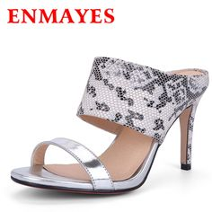 73.35$  Buy now - http://alih7v.worldwells.pw/go.php?t=32668229730 - ENMAYES Summer Shoes Woman New Silver Gold Colors Snake Print Slip On Sandals Sexy High Heels Open Toe Slides Fashion Slipper 73.35$