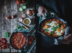 Huevos al horno con pisto