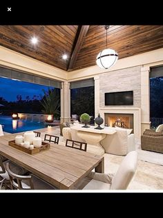 Indeed, people build pool house add beauty value to the owner's property. Find out most popular Pool House Ideas around the net here! Outdoor Kitchen Design, Patio Design, Outdoor Kitchens, Covered Patio Kitchen Ideas, Indoor Outdoor Kitchen, Outdoor Living Rooms, Outdoor Spaces, Outdoor Dining, Outdoor Patios
