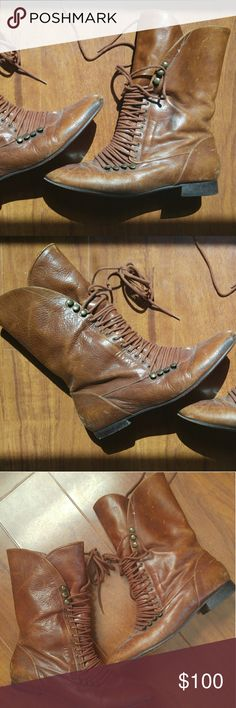 Devotte Brazilian Distressed Leather Lace Up Boots PRICE FIRM unless bundled: Genuine leather cognac lace tie boots. Brand is Devotte, made in Brazil. Bought new as a very worn-in look, but only worn a handful times. Exceptional quality. GUC on outer & in