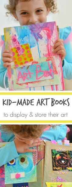 Kid Made Art Books to Display and Store Kids Art .... An idea for is maybe? We need to come up with a plan/system going forwards!