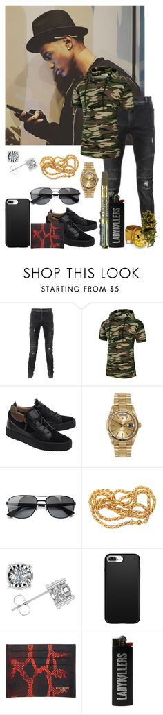 """""""Faded, Still Lookin' For You"""" by i-be-romania143 ❤ liked on Polyvore featuring Balmain, Giuseppe Zanotti, Rolex, Ray-Ban, Speck, Givenchy, men's fashion and menswear"""