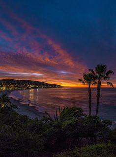 "coiour-my-world: ""Blue Hour Glow Over Laguna Beach by William McIntosh """
