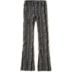 Hollister Printed Flare Pants ($9.99) ❤ liked on Polyvore featuring pants, black pattern, high-waisted trousers, flare leg pants, high-waist trousers, high rise pants and flared trousers