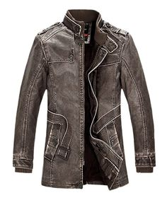 Chouyatou Men s Pu Leather Mid-length Washed Trench Coat Fur Lining Jacket  (Large, 7c5c8ea75abd