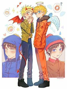 South Park Funny, South Park Anime, South Park Fanart, Craig South Park, Tweek South Park, Anime Chibi, Character Art, Character Design, Tweek And Craig