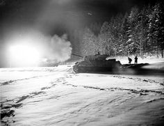 An American tank destroyer firing in the night, Ardennes, M10 Wolverine, M10 Tank Destroyer, Willys Mb, War Machine, Second World, Military History, World History, World War Two, American History
