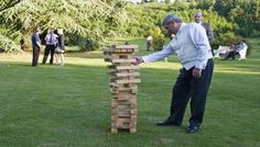 Jenga for adults at the summer garden party -- Ideas for Entertaining Guests during the Summer